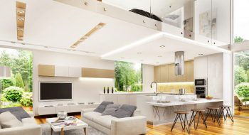Modern open plan kitchen dining living room designs